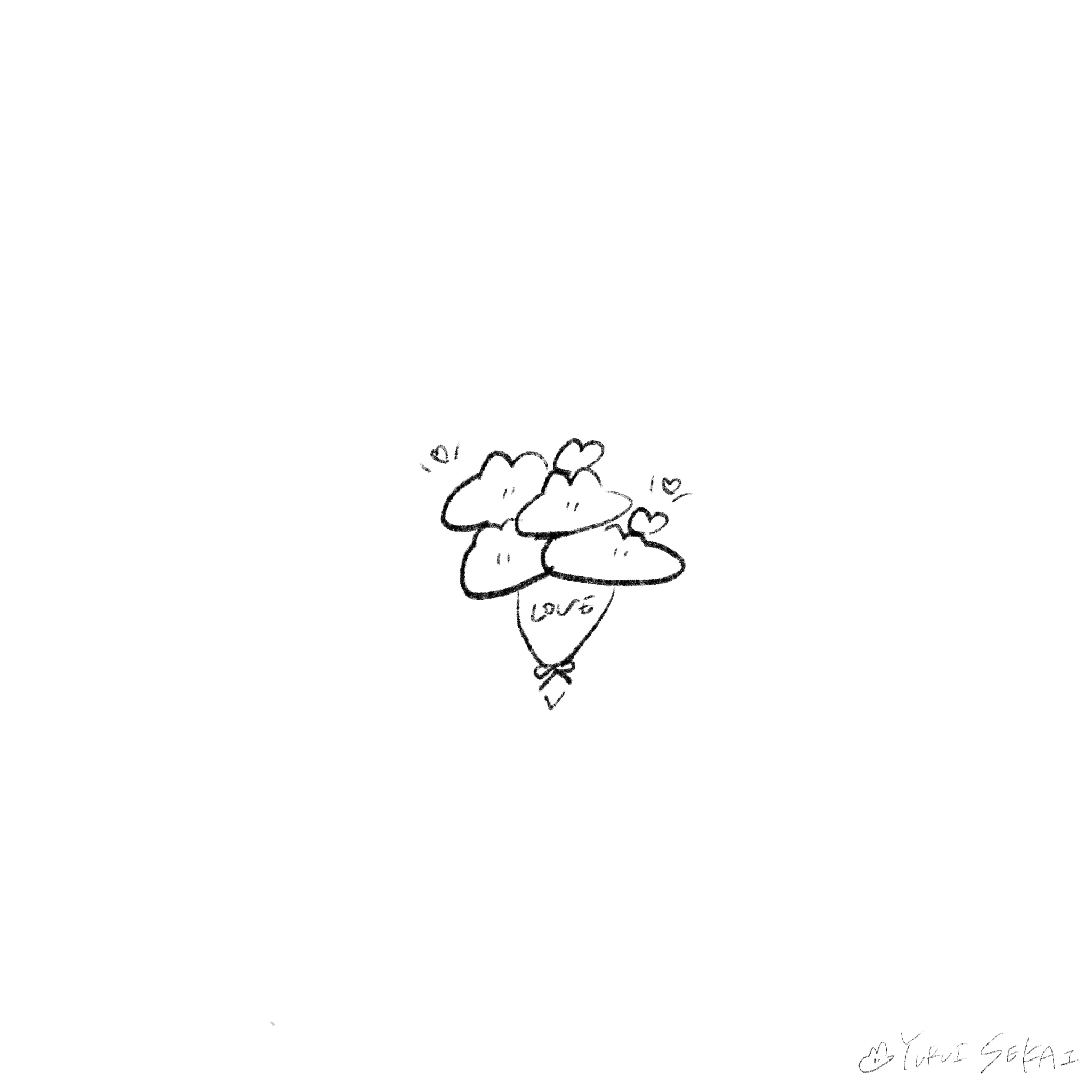 【フリー素材】ゆるいせかいのちいさなイラストをまとめました【ゆるいイラスト】うさぎ 花束