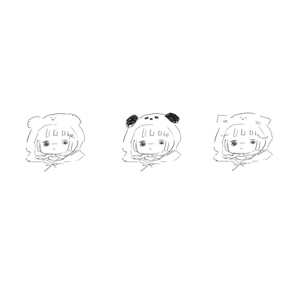 ゆるいせかい 女の子動物フード表情3パターン